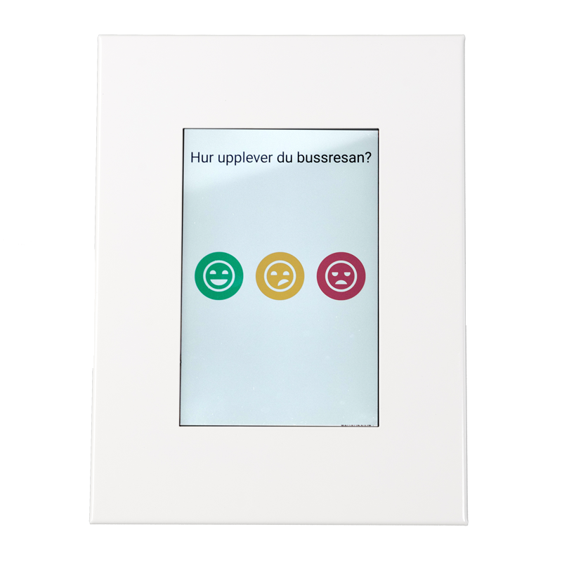 Touch screen survey app in tablet wall mount